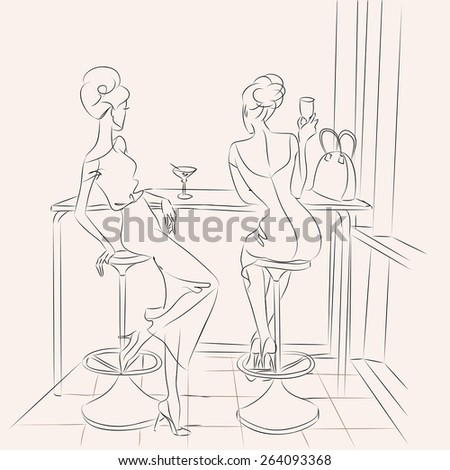Fashion girl in cafe drinking cocktail and look out the window bar hand drawn illustration Background with model - stock vector