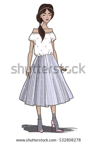 Fashion girl in grey tulle skirt. Vector illustration.