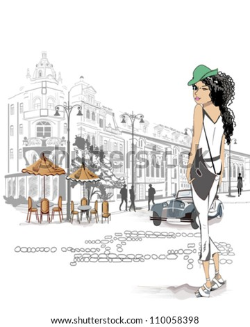Fashion girl in jeans on the street of the old city - stock vector