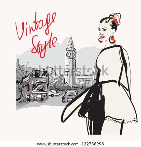 Fashion girl in london.vector illustration - stock vector