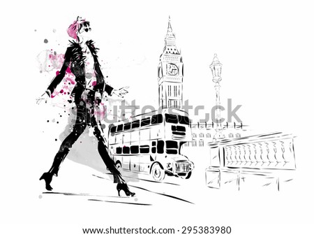 Fashion girl in sketch-style. - stock vector