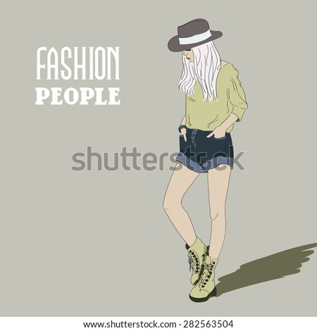 Fashion girl in sketch-style isolated on background .Vector illustration - stock vector