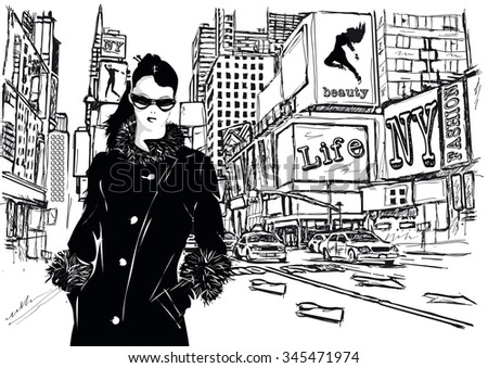 Fashion girl in sketch-style. New York City. Vector illustration. - stock vector