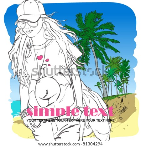 Fashion girl in sketch style on a beach-background. - stock vector