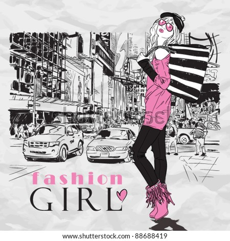 Fashion girl in sketch-style on a city-background. Vector illustration. - stock vector