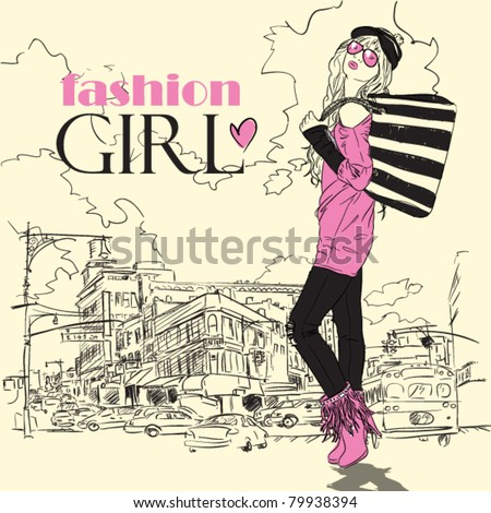 Fashion girl in sketch-style on a town-background. Vector illustration. - stock vector