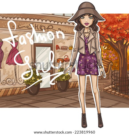 Fashion girl in stylish outfit - stock vector