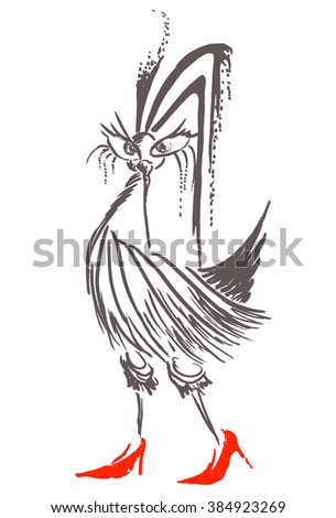 Fashion girl model with animal drawing fashion chick with red high heel shoes pencil
