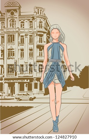 Fashion girl on a street vintage background - stock vector