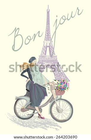 Fashion girl on the bike hand drawn illustration Background with model and Eiffel Tower - stock vector