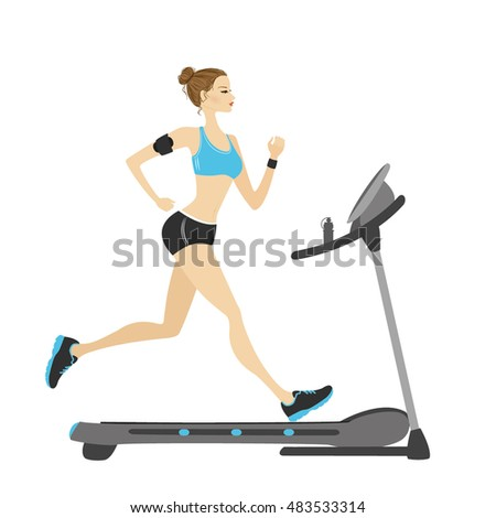 fashion girl running on a treadmill. isolated on white background. vector illustration