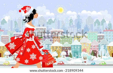 fashion girl santa with purchase in a city. seamless panorama - stock vector