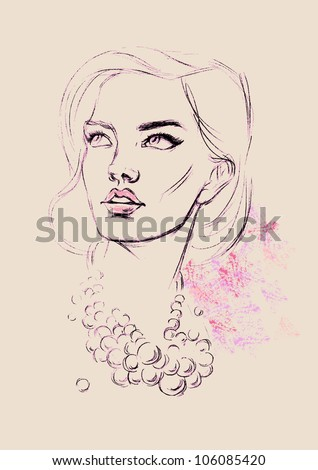 Fashion girl wearing pearl necklace - stock vector