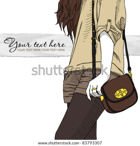 Fashion girl with bag. Vector illustrator. Place for your text - stock vector