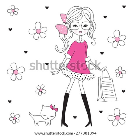 fashion girl with cat vector illustration - stock vector