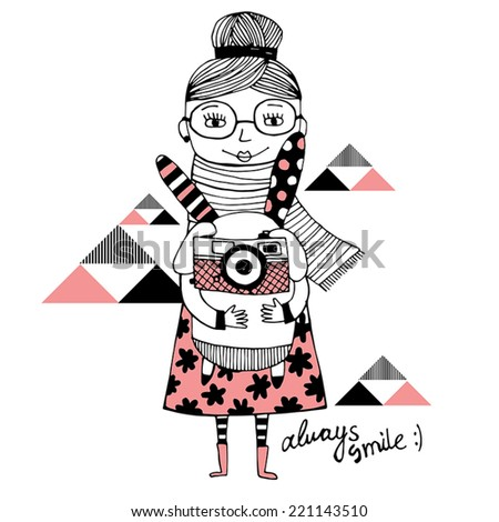 Fashion girl with cute bunny and photo camera. Always smile. - stock vector