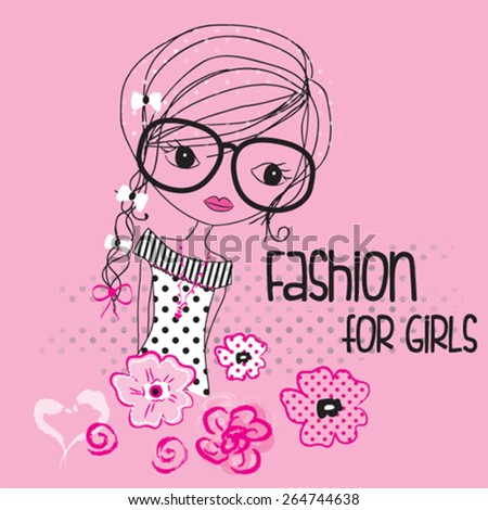 fashion girl with flowers, T-shirt design vector illustration - stock vector
