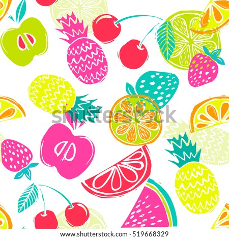 Fashion Girlish Funny Wallpapers Seamless Pattern With Yellow Pineapples Juicy Strawberries And Oranges On