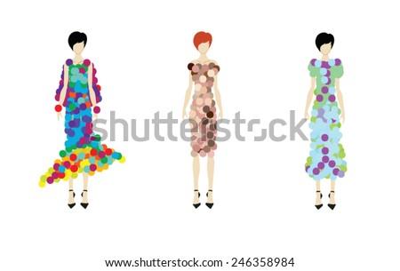 Fashion girls. Hand-drawn fashion models. Vector illustration. - stock vector