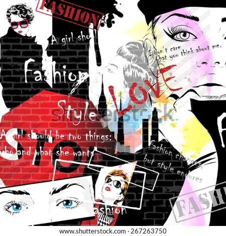Fashion girls in sketch-style. Background in style grunge. Vector illustration - stock vector