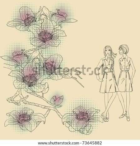 fashion girls  on a floral background - stock vector