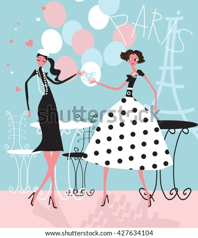 Fashion girls with glass walking near Eiffel Tower and happy with her Paris shopping and have a party vector fashion illustration