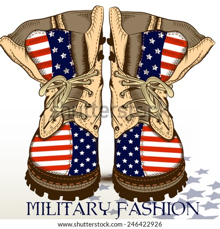 Fashion Hand Drawn Boots Military Style Stock Vector ...