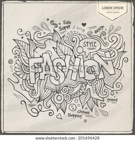 Fashion hand lettering and doodles elements background. Vector illustration - stock vector