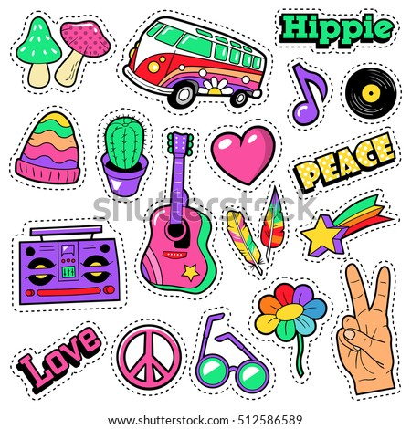 Fashion hippie badges patches stickers van mushroom guitar and feather in pop art