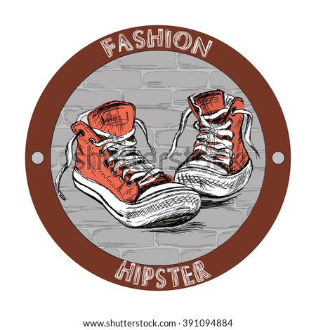 Fashion hipster shoes - sneakers. Hand drawing vector logo or icon. - stock vector
