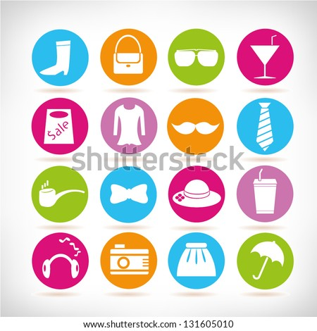 fashion icon set - stock vector