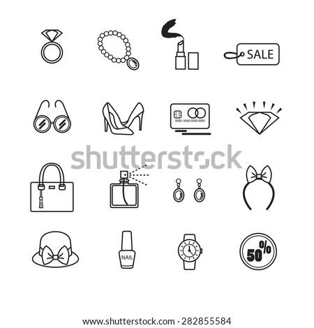 Fashion icon set. - stock vector