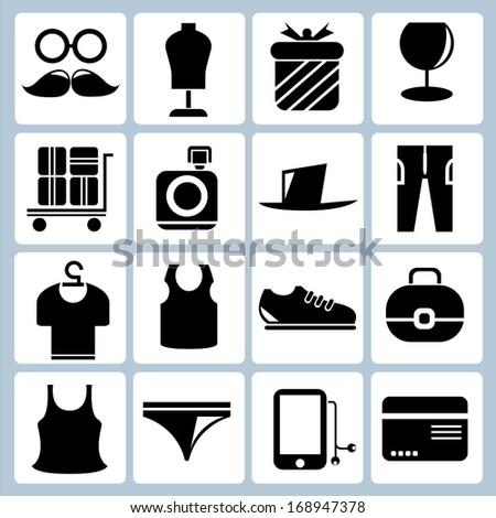 fashion icons set - stock vector