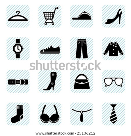 fashion icons set - stock vector