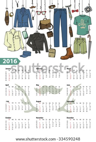 Fashion illustration.Calendar 2016 new year.Vector hand drawn  fashionable male  clothes and accessories hanging on rope.Background, design template.Mens hipster wear - stock vector