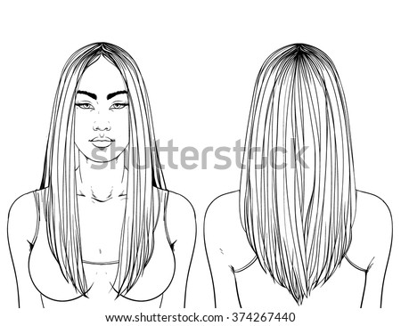Fashion illustration.  Haircut Long hair V-shape. Hand drawn outline vector art isolated on white. This can be used as a face chart or for hairdressers. Asian type of face. Adult coloring page. - stock vector