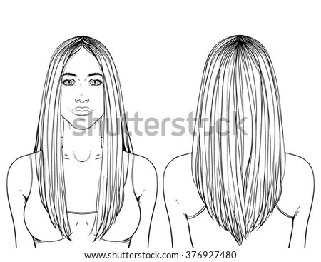 Fashion illustration.  Haircut Long hair V-shape. Hand drawn outline vector art isolated on white. This can be used as a face chart or for hairdressers. Caucasian type of face. Adult coloring page. - stock vector