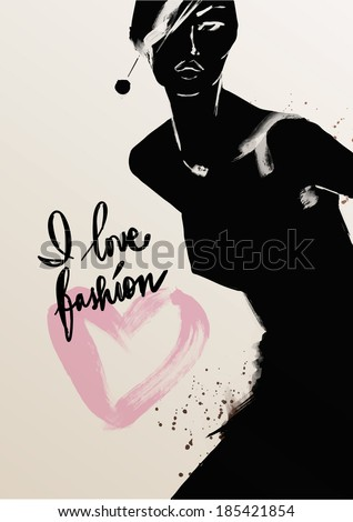 fashion illustration of beautiful woman - stock vector