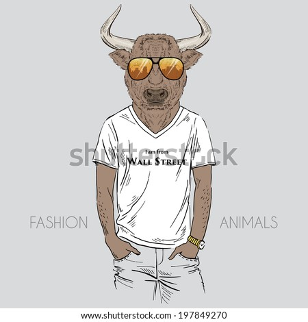 fashion illustration of  bull dressed up in t-shirt - stock vector