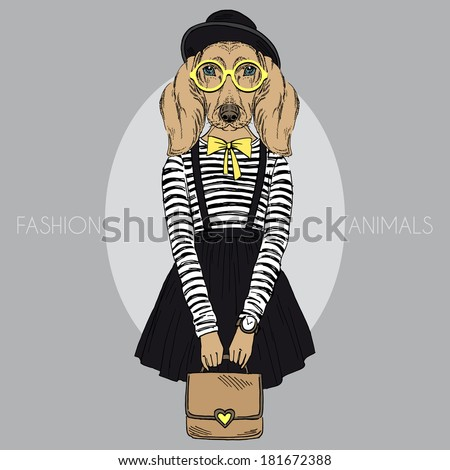 Fashion illustration of dachshund girl hipster  - stock vector