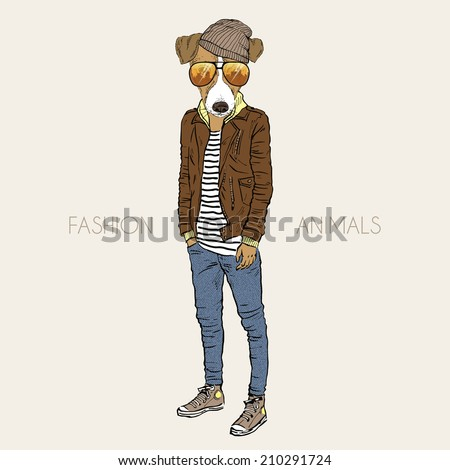 fashion illustration of Jack Russel terrier dressed up in casual city style - stock vector