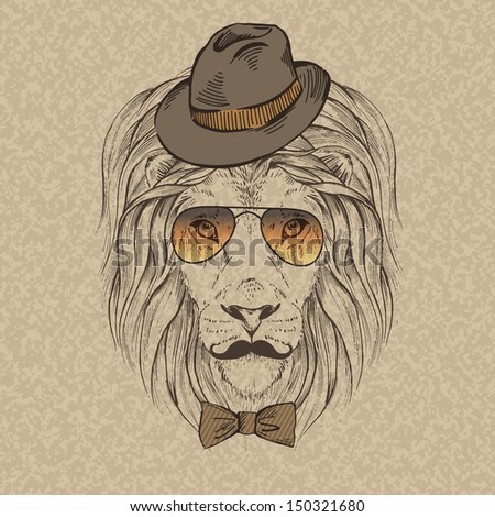 Fashion Illustration of Lion Portrait in Retro Style, Hipster Look, Vector - stock vector