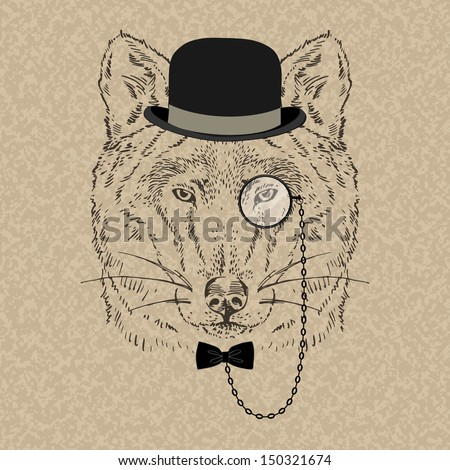 Fashion Illustration of Wolf Portrait in Retro Style, Hipster Look, Vector - stock vector