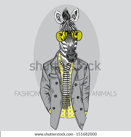 Fashion Illustration of Zebra in Yellow Glasses Isolated on Grey Background - stock vector