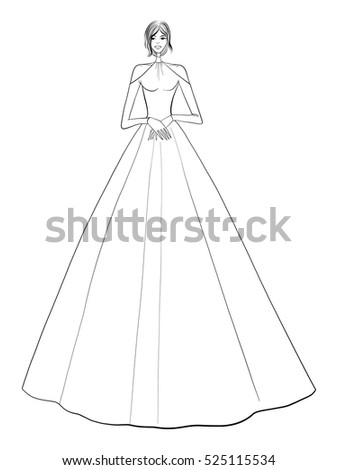 Fashion illustration, woman in dress, wedding dress, posing, fashion girl
