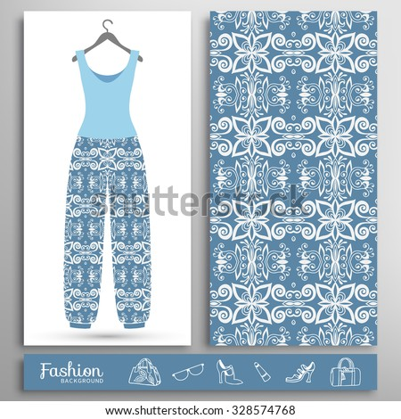 Fashion illustration, women's blouse and trousers  on a hanger and seamless floral geometric pattern. Handbags, shoes, glasses icons set, isolated elements for print or cards design - stock vector
