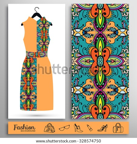 Fashion illustration, women's dress on a hanger and seamless floral geometric pattern. Handbags, shoes, glasses icons set, isolated elements for print or cards design - stock vector