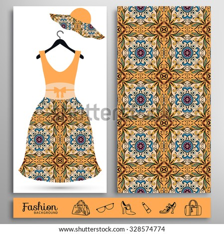 Fashion illustration, women's dress on a hanger and seamless floral geometric pattern. Handbags, shoes, hat, glasses icons set, isolated elements for print or cards design - stock vector