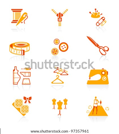 Fashion industry tools and objects red-orange icon-set - stock vector