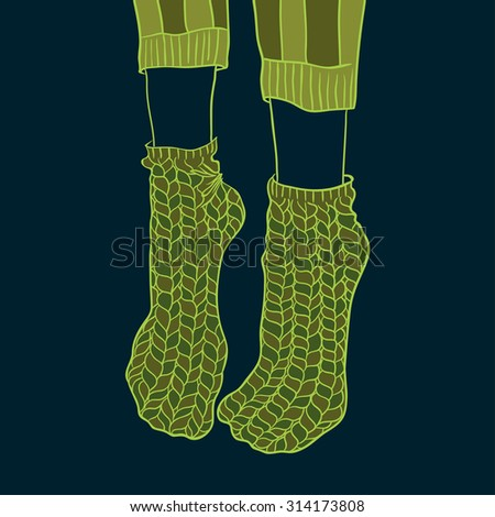 fashion knitted socks. vector illustration.